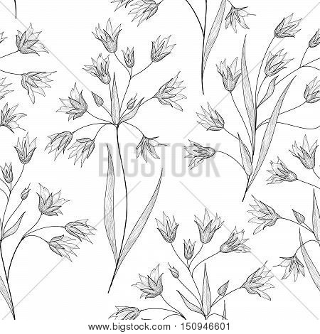 Floral seamless etching pattern. Flower engraving background. nature plant sketching spring texture with flowers.