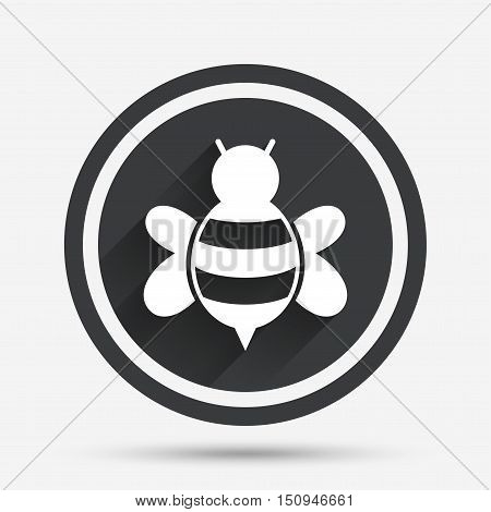 Bee sign icon. Honeybee or apis with wings symbol. Flying insect. Circle flat button with shadow and border. Vector