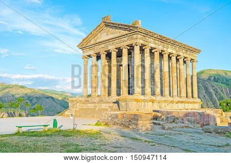 One of the most interesting ancient landmarks of Armenia - Garni Temple Pagan temple built in Classical Hellenistic style Kotayk Province.
