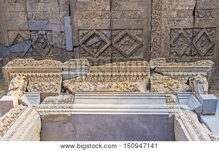 The stone friezes on door frame and ceiling pannels of Garni Temple are covered with fine patterns Kotayk Province Armenia.