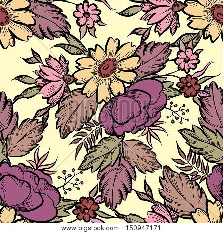 Floral Seamless Pattern. Flower Background. Floral Tile Spring Texture With Flowers.