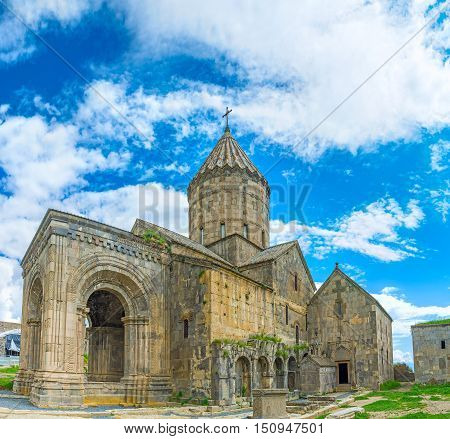 The St Gregory Church and Funeral Chapel are built to the wall of St Peter and Paul Basilica and surrounded by the medieval cemetery Tatev Monastery Syunik Province Armenia.