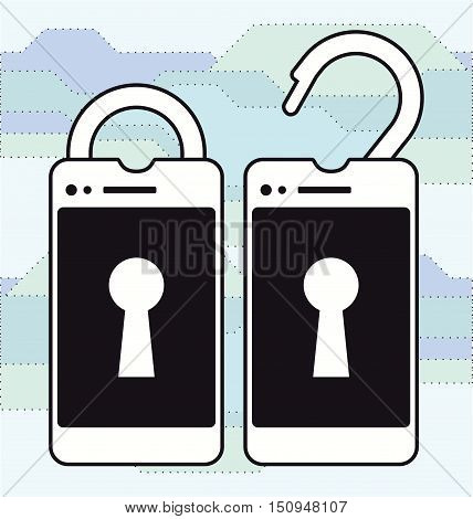 Locked and unlocked smart phone vector logo template