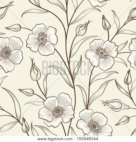 Floral Seamless Pattern. Flower Border Background. Floral Tile Spring Texture With Flowers.