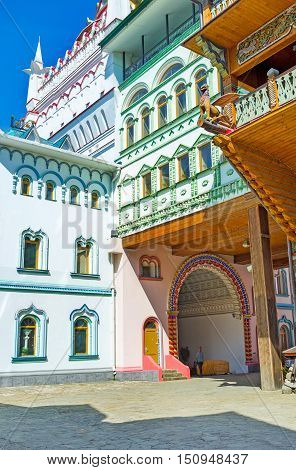 The Izmailovsky Kremlin is famous for its colorful buildings imitating old Russian architecture interesting museums art and craft centers souvenir stores Moscow Russia.