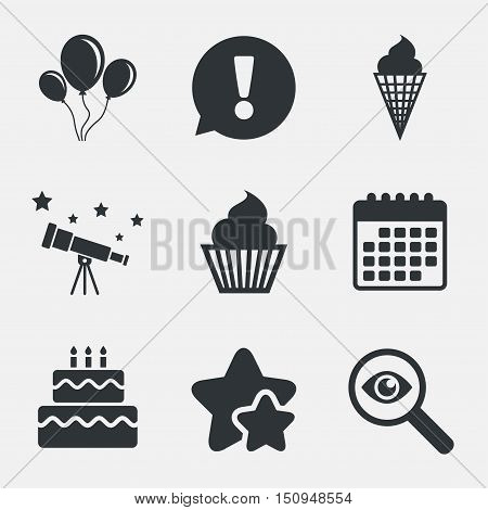 Birthday party icons. Cake with ice cream signs. Air balloons with rope symbol. Attention, investigate and stars icons. Telescope and calendar signs. Vector