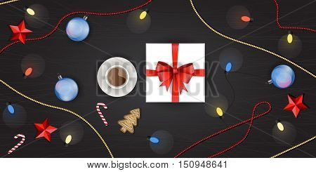 Vector set of christmas decoration top view. Gift box Christmas tree garland christmas ball ginger cookie candy cane red stars cup of hot tea or chocolate Christmas beads and colorful lights