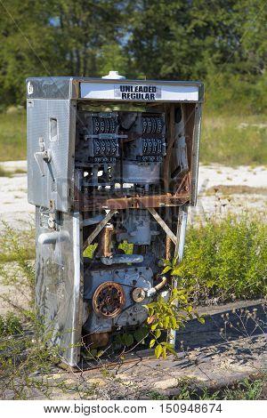 remains of vintage gas pump circa 1970s