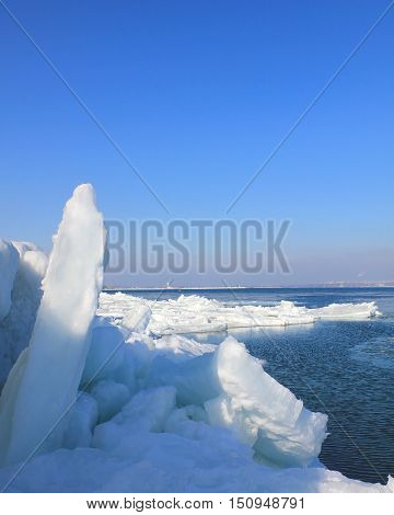 The picture was taken in Ukraine in the Odessa bay. In the picture the Black Sea shores with much frozen. This is a fairly rare event for this area.