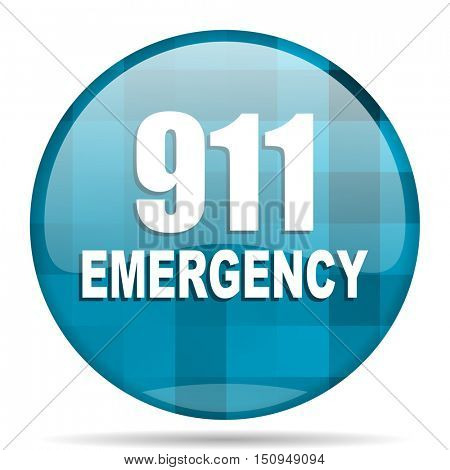 number emergency 911 blue round modern design internet icon on white background