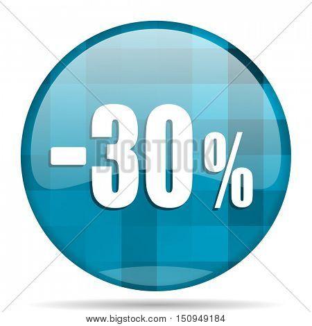30 percent sale retail blue round modern design internet icon on white background