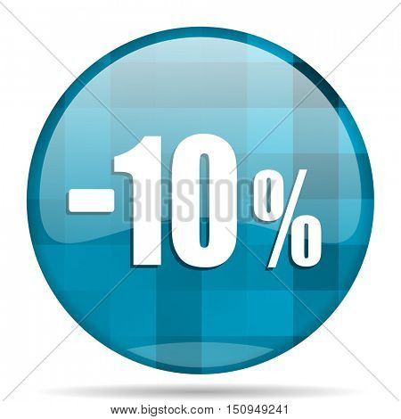 10 percent sale retail blue round modern design internet icon on white background