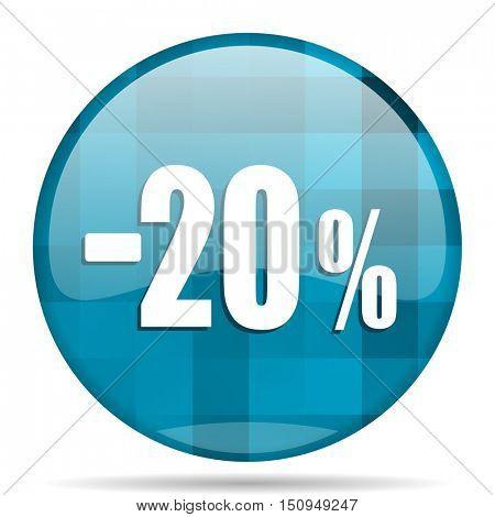 20 percent sale retail blue round modern design internet icon on white background