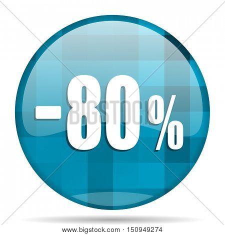 80 percent sale retail blue round modern design internet icon on white background