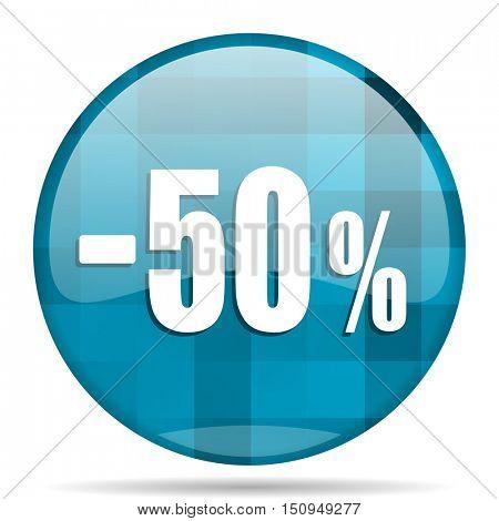 50 percent sale retail blue round modern design internet icon on white background