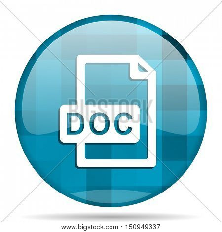 doc file blue round modern design internet icon on white background