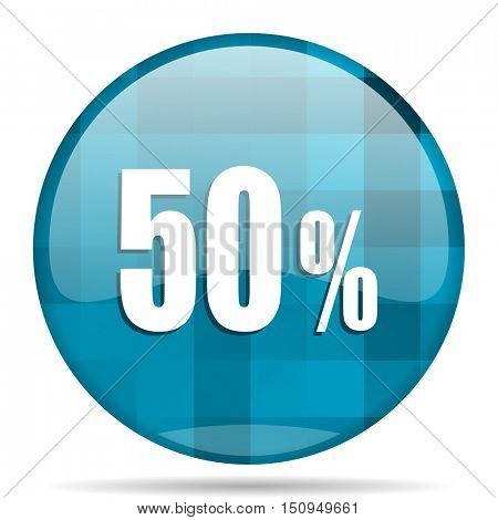 50 percent blue round modern design internet icon on white background