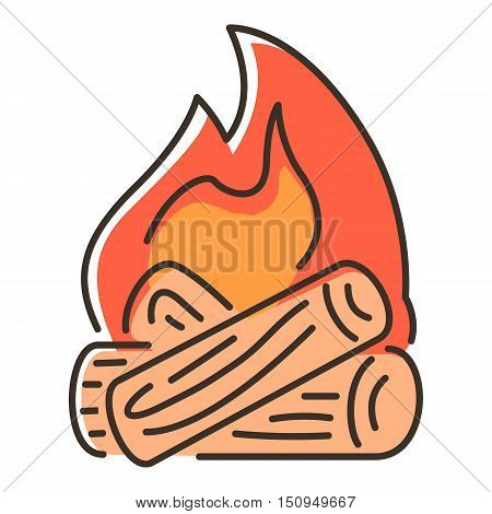 Campfire icon. Flat illustration of campfire vector icon for web.