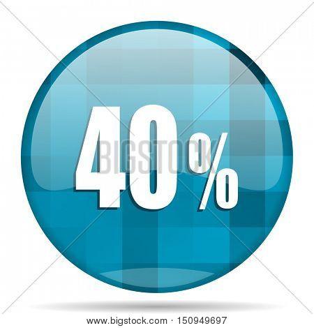 40 percent blue round modern design internet icon on white background
