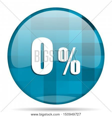 0 percent blue round modern design internet icon on white background