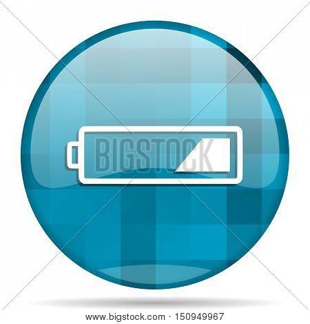 battery blue round modern design internet icon on white background