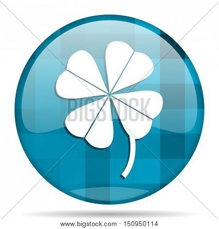 four-leaf clover blue round modern design internet icon on white background