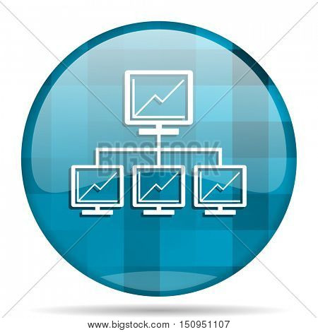 network blue round modern design internet icon on white background