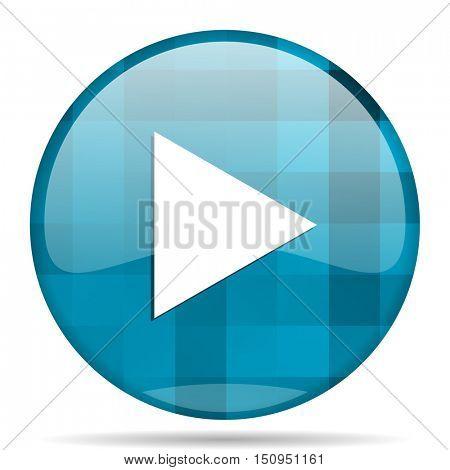 play blue round modern design internet icon on white background