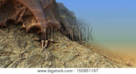 Alien planet sci-fi background. 3D digitally rendered illustration