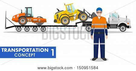 Detailed illustration of auto transporter, wheel loader, compactor and driver on white background in flat style.