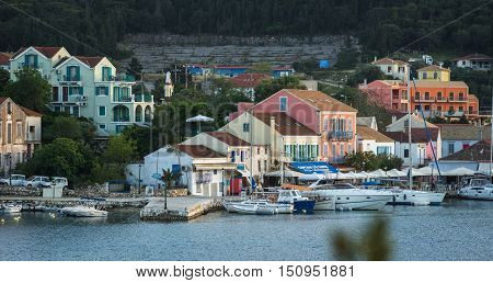 Scenic View Of The Port In Fiscardo, Kefalonia, Greece