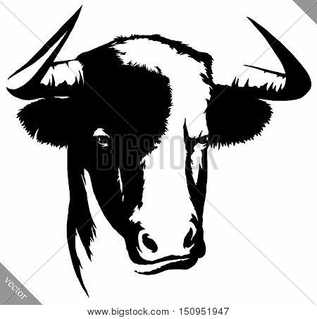 black and white linear draw bull vector illustration
