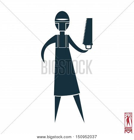 Man Person Basic body position Stick Figure Icon silhouette vector sign,doctor, surgeon, saw mask, apron.character with a saw doctor