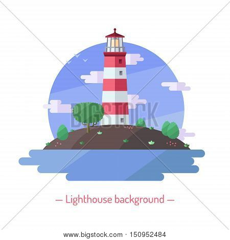 Lighthouse and sea vector flat style illustration with deciduous trees. Nature background.