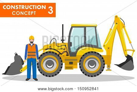 Detailed illustration of backhoe loader and worker in flat style on white background.