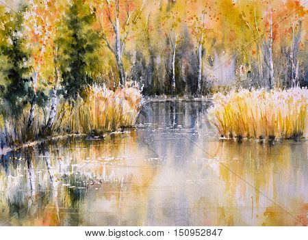 Forest lake in autumn colors.Picture created with watercolors.