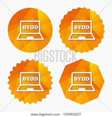 BYOD sign icon. Bring your own device symbol. Laptop icon. Triangular low poly buttons with flat icon. Vector