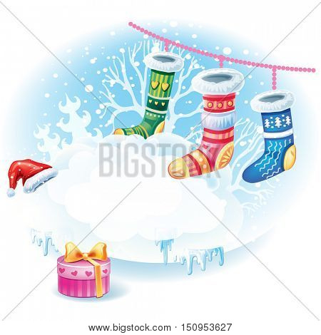 Christmas sticker with socks