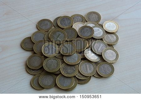 Coins on the table. One Turkish liras