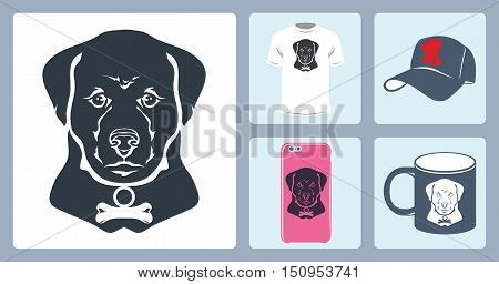 Vector isolated image of the dog's head. To print on a T-shirt, baseball cap, mug, a case for the phone. The bone on the collar.