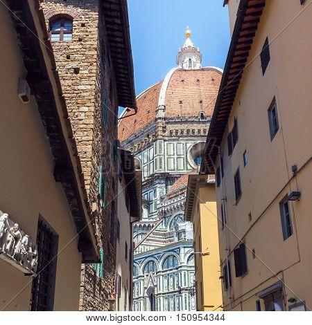 Detail of Duomo Santa Maria Del Fiore in Florence Tuscany Italy