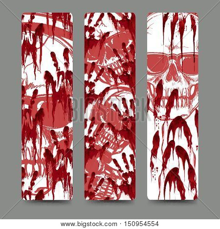 Set of bookmark with bloody handprints and skull in sunglasses. Vector illustration