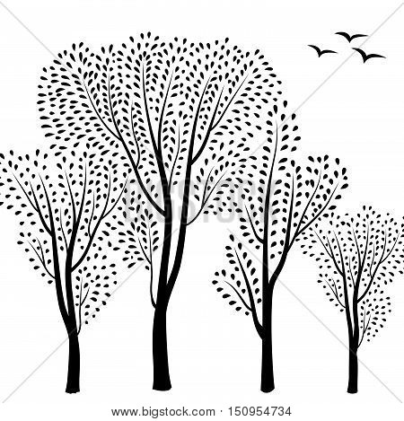 Beautiful card with trees silhouette. Autumn forest background. Fall leaves and trees card with floral frame. Vector illustration