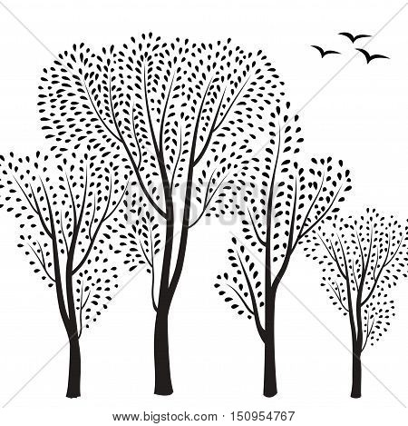 Beautiful card with trees silhouette. Autumn forest background. Fall leaves and trees card with floral frame. Have a nice day floral greeting card with tree silhouette.