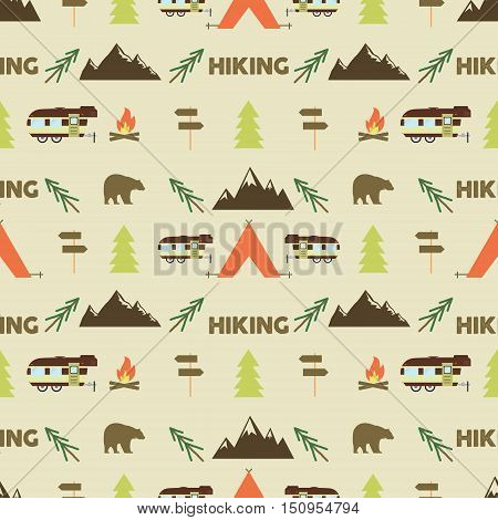 Hiking seamless pattern. Hiking trail seamless wallpaper design. Equipment for outdoor walking background for print. Hiking or gear rustic pattern- tent, rv, bonfire. Hike park pattern design. .