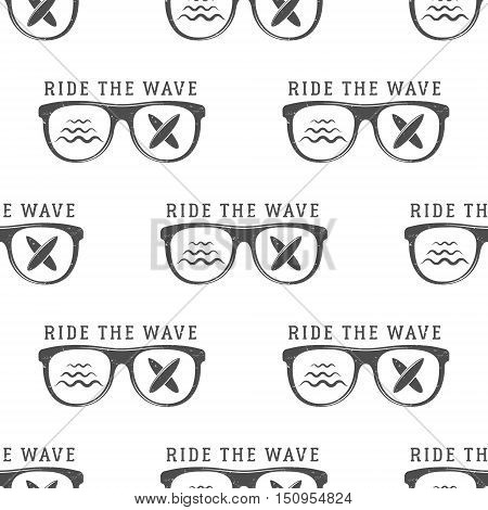 Surfing Seamless pattern with surfing glass. Board for surfing, surf waves elements. Surfing wallpaper printing design. Surfboards. Summer print, background texture. Surf the wave text.