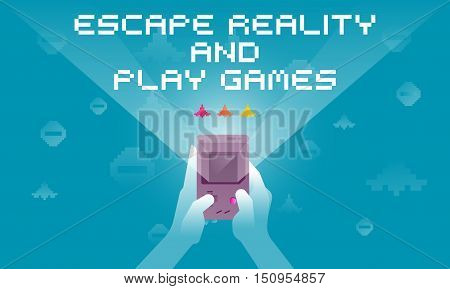 Video game concept. Close up of hands playing the video game. Flat design vector illustration. Escape reality and play games.