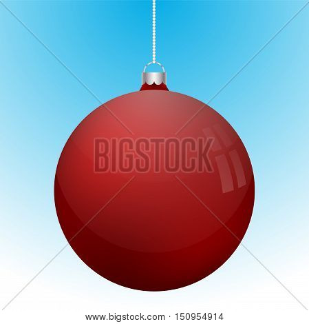Realistic 3D red christmas ball decoration hanging on white chain. Rounded red ball decoration with several white reflections on blue to white gradient backdrop.