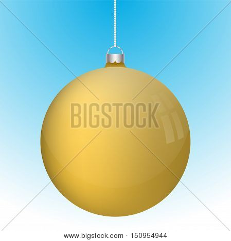 Realistic 3D yellow christmas ball decoration hanging on white chain. Rounded gold ball decoration with several reflections on blue to white gradient backdrop.