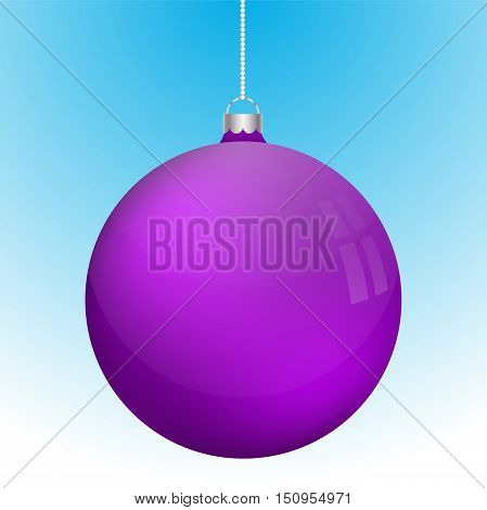 Realistic 3D violet christmas ball decoration hanging on white chain. Rounded purple ball decoration with several reflections on blue to white gradient backdrop.